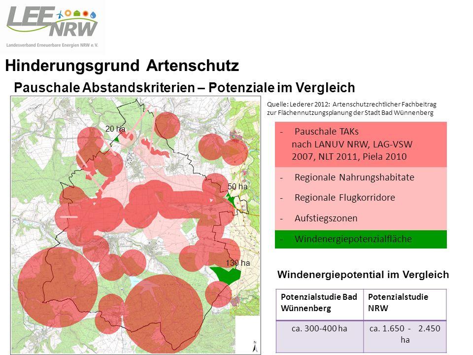 10.11.2012 -Pauschale TAKs nach LANUV NRW, LAG-VSW 2007, NLT 2011, Piela 2010 -Regionale Nahrungshabitate -Regionale Flugkorridore -Aufstiegszonen -Windenergiepotenzialfläche Windenergiepotential im Vergleich 130 ha 50 ha 20 ha Potenzialstudie Bad Wünnenberg Potenzialstudie NRW ca.