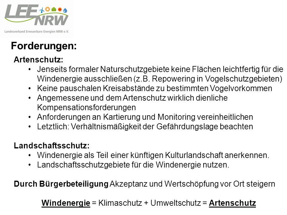 Forderungen: Artenschutz: Jenseits formaler Naturschutzgebiete keine Flächen leichtfertig für die Windenergie ausschließen (z.B. Repowering in Vogelsc