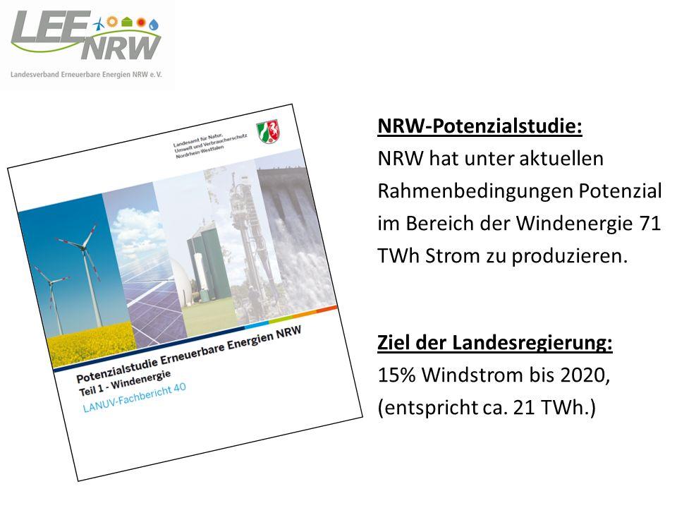 NRW-Potenzialstudie: NRW hat unter aktuellen Rahmenbedingungen Potenzial im Bereich der Windenergie 71 TWh Strom zu produzieren. Ziel der Landesregier