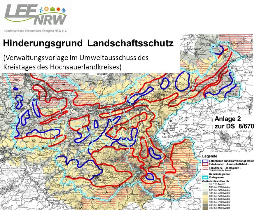 Hinderungsgrund Landschaftsschutz (Verwaltungsvorlage im Umweltausschuss des Kreistages des Hochsauerlandkreises)