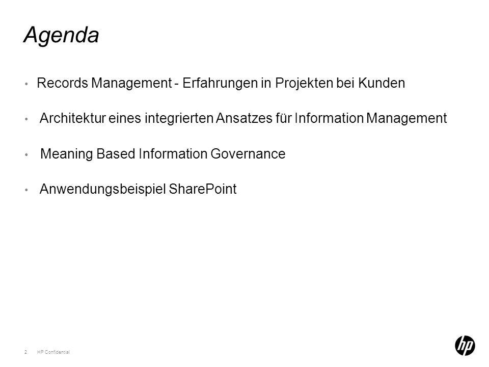 Agenda 2HP Confidential Records Management - Erfahrungen in Projekten bei Kunden Architektur eines integrierten Ansatzes für Information Management Meaning Based Information Governance Anwendungsbeispiel SharePoint