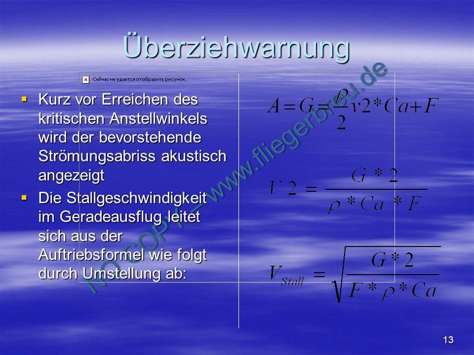 NO COPY – www.fliegerbreu.de 13 Überziehwarnung Kurz vor Erreichen des kritischen Anstellwinkels wird der bevorstehende Strömungsabriss akustisch ange