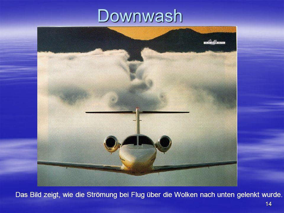 NO COPY – www.fliegerbreu.de 14 Downwash Das Bild zeigt, wie die Strömung bei Flug über die Wolken nach unten gelenkt wurde.