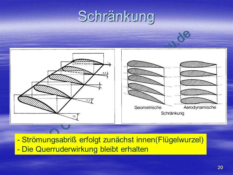NO COPY – www.fliegerbreu.de 20 Schränkung - Strömungsabriß erfolgt zunächst innen(Flügelwurzel) - Die Querruderwirkung bleibt erhalten Schiffmann7: A