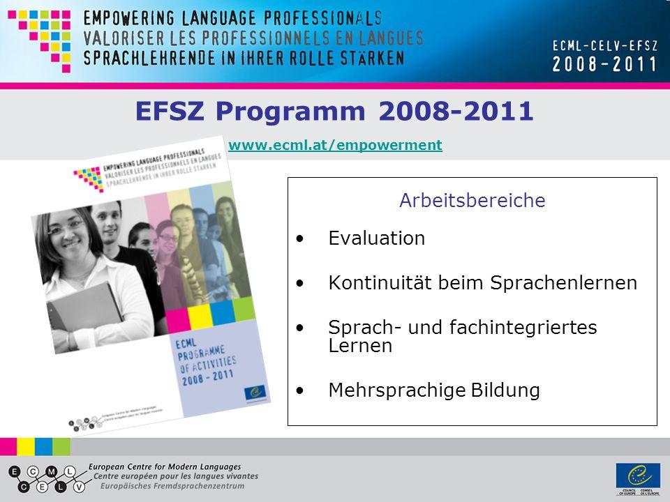 EFSZ Programm 2008-2011 www.ecml.at/empowerment www.ecml.at/empowerment Arbeitsbereiche Evaluation Kontinuität beim Sprachenlernen Sprach- und fachintegriertes Lernen Mehrsprachige Bildung