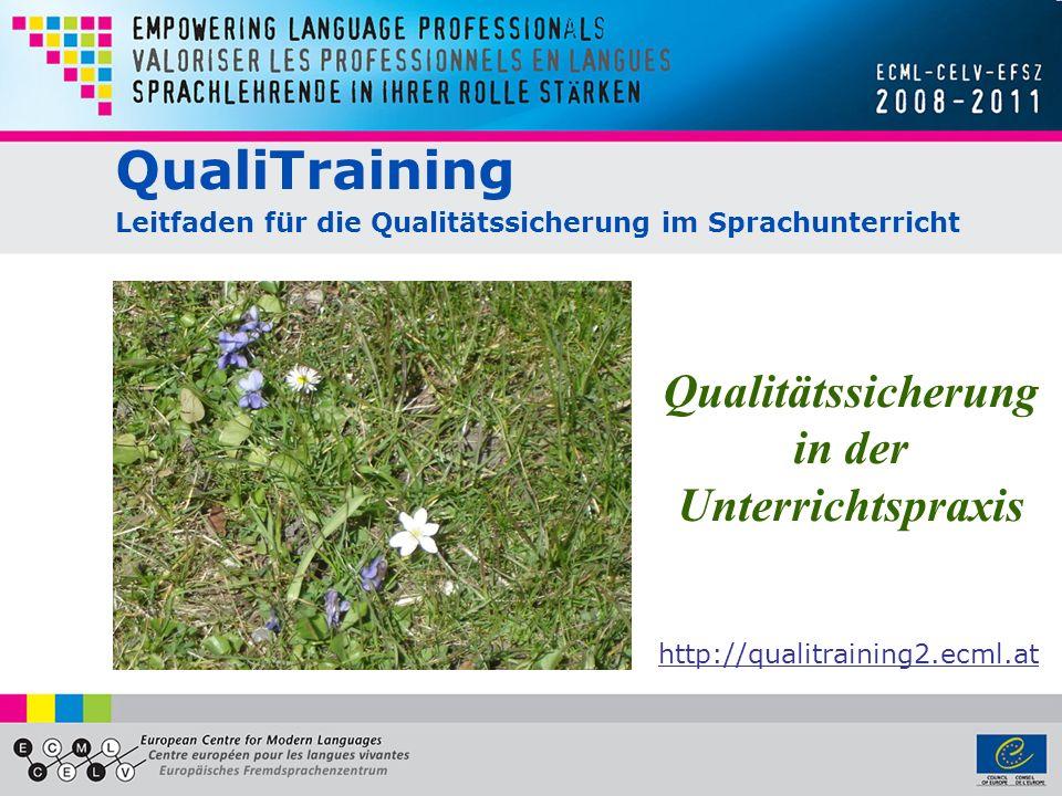 QualiTraining Leitfaden für die Qualitätssicherung im Sprachunterricht Qualitätssicherung in der Unterrichtspraxis http://qualitraining2.ecml.at
