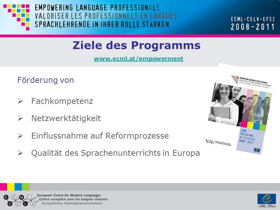 Ziele des Programms www.ecml.at/empowerment www.ecml.at/empowerment Förderung von Fachkompetenz Netzwerktätigkeit Einflussnahme auf Reformprozesse Qualität des Sprachenunterrichts in Europa