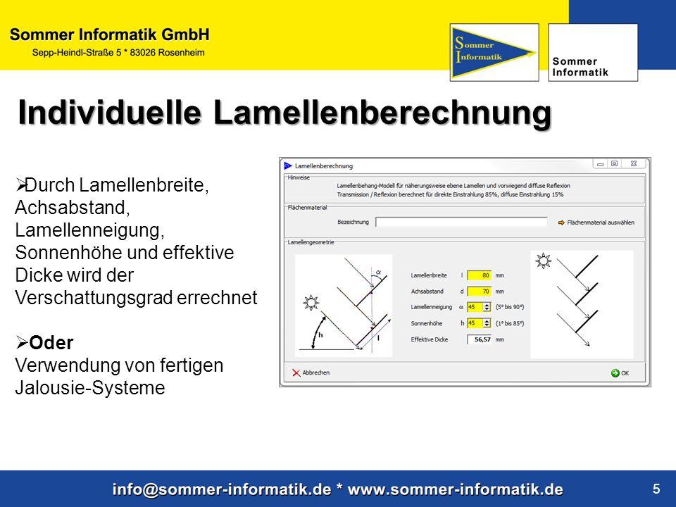 www.sommer-informatik.de 5 Durch Lamellenbreite, Achsabstand, Lamellenneigung, Sonnenhöhe und effektive Dicke wird der Verschattungsgrad errechnet Ode