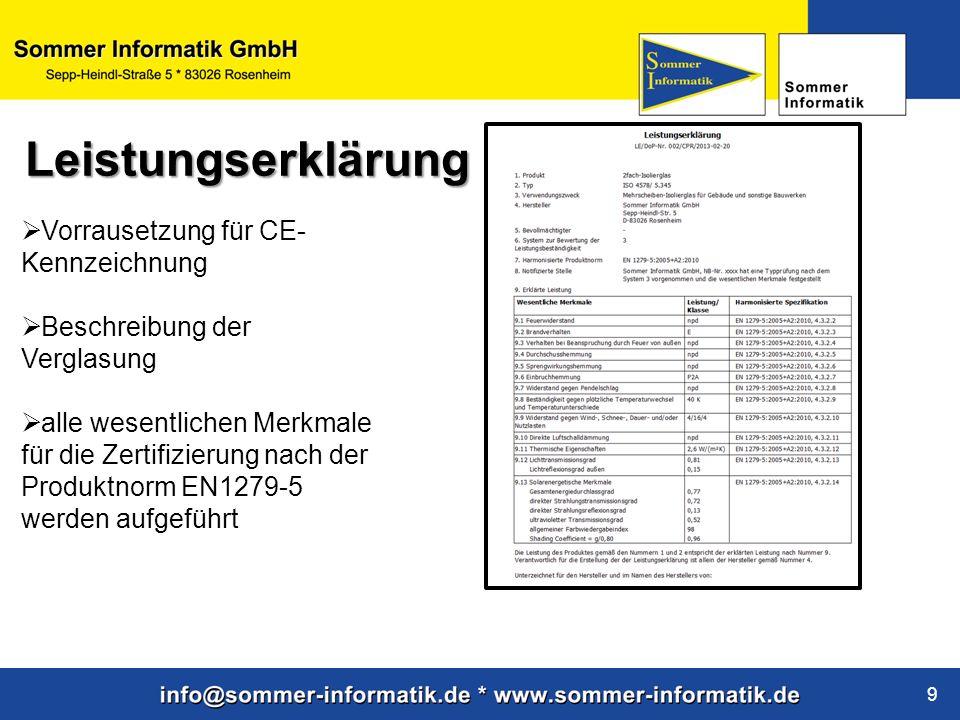 www.sommer-informatik.de 9 Vorrausetzung für CE- Kennzeichnung Beschreibung der Verglasung alle wesentlichen Merkmale für die Zertifizierung nach der