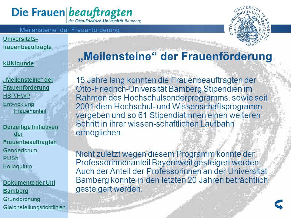 Universitäts- frauenbeauftragte kUNIgunde Meilensteine der Frauenförderung HSP/HWP Entwicklung Frauenanteil Derzeitige Initiativen der Frauenbeauftrag