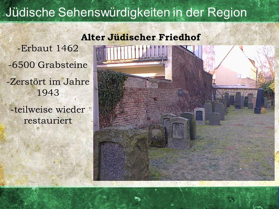 Jüdische Sehenswürdigkeiten in der Region Alter Jüdischer Friedhof -Erbaut 1462 -6500 Grabsteine -Zerstört im Jahre 1943 -teilweise wieder restauriert