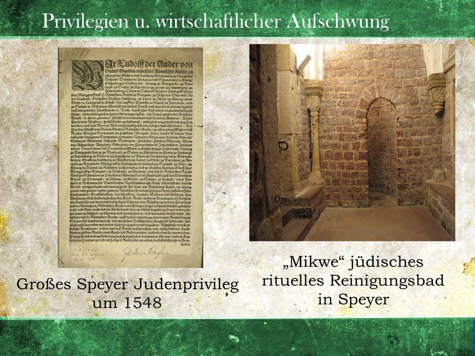 Privilegien u. wirtschaftlicher Aufschwung Großes Speyer Judenprivileg um 1548 Mikwe jüdisches rituelles Reinigungsbad in Speyer