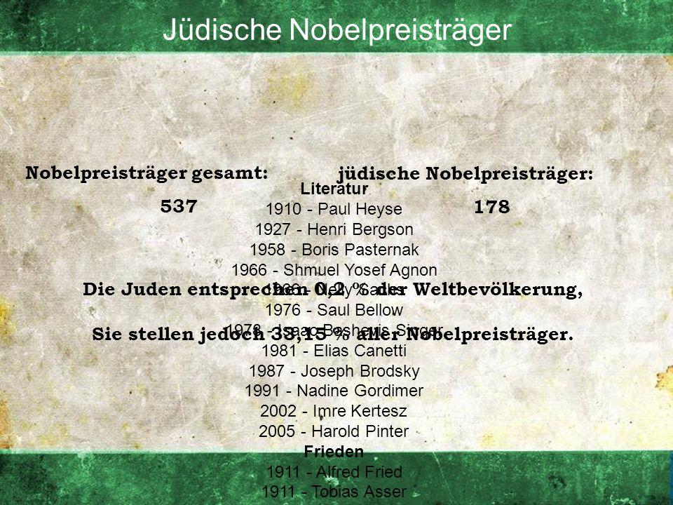 Jüdische Nobelpreisträger Literatur 1910 - Paul Heyse 1927 - Henri Bergson 1958 - Boris Pasternak 1966 - Shmuel Yosef Agnon 1966 - Nelly Sachs 1976 -