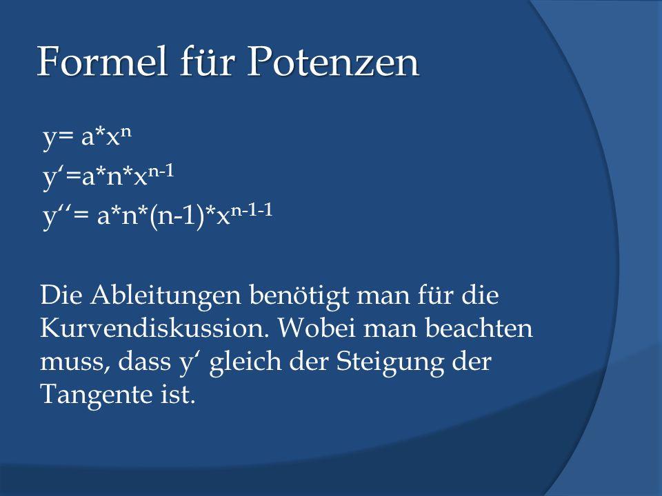 Formel für Potenzen y= a*x n y=a*n*x n-1 y= a*n*(n-1)*x n-1-1 Die Ableitungen benötigt man für die Kurvendiskussion. Wobei man beachten muss, dass y g