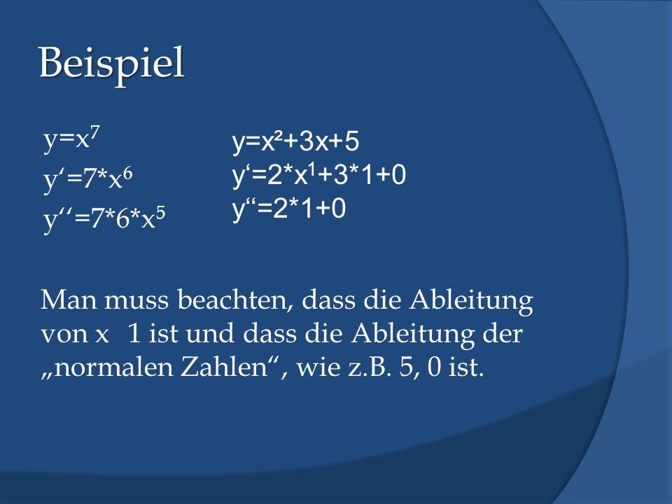 Beispiel y=x 7 y=7*x 6 y=7*6*x 5 Man muss beachten, dass die Ableitung von x 1 ist und dass die Ableitung der normalen Zahlen, wie z.B. 5, 0 ist. y=x²