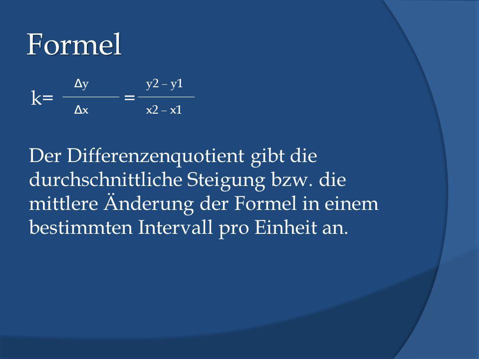 Formel k= = Der Differenzenquotient gibt die durchschnittliche Steigung bzw. die mittlere Änderung der Formel in einem bestimmten Intervall pro Einhei