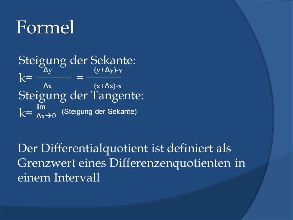 Formel Steigung der Sekante: k== Steigung der Tangente: k= Der Differentialquotient ist definiert als Grenzwert eines Differenzenquotienten in einem I