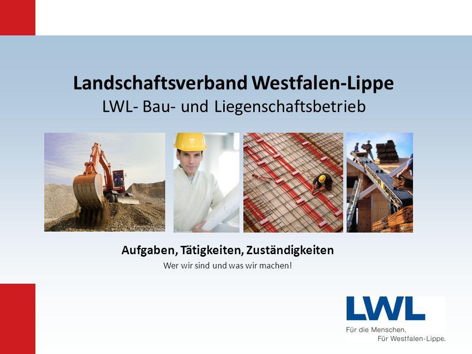 Folie: 1 LWL – BAU- UND LIEGENSCHAFTSBETRIEB Landschaftsverband Westfalen-Lippe LWL- Bau- und Liegenschaftsbetrieb Aufgaben, Tätigkeiten, Zuständigkei