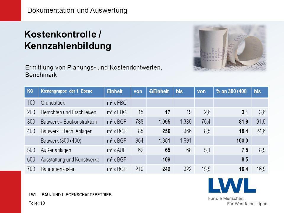 Dokumentation und Auswertung Folie: 10 LWL – BAU- UND LIEGENSCHAFTSBETRIEB KGKostengruppe der 1. Ebene Einheitvon/Einheitbisvon% an 300+400bis 100Grun
