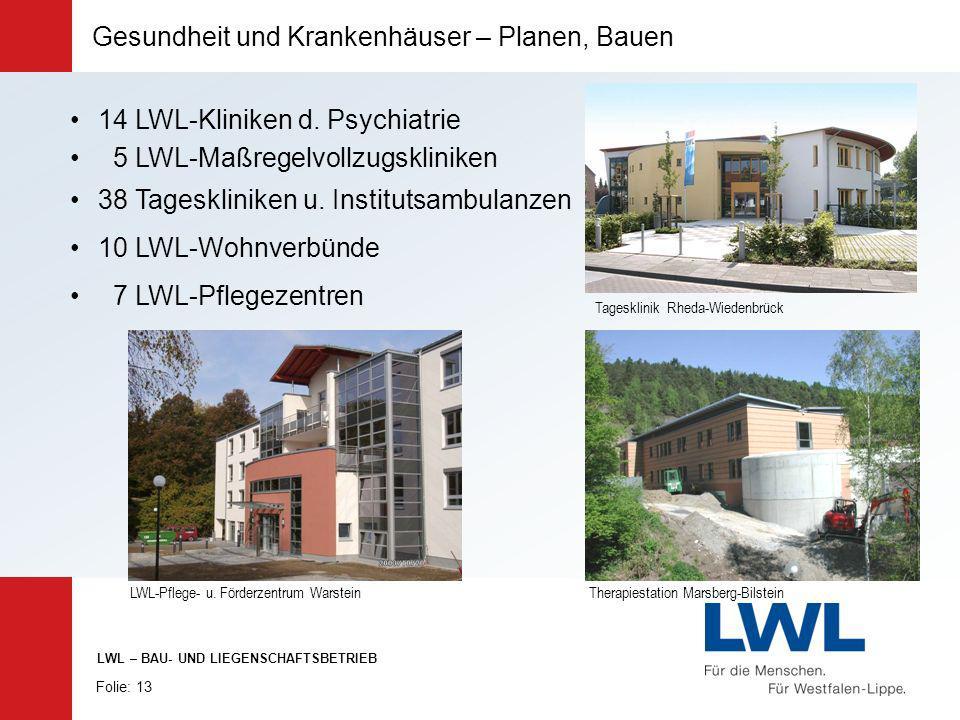 Therapiestation Marsberg-Bilstein Tagesklinik Rheda-Wiedenbrück Gesundheit und Krankenhäuser – Planen, Bauen 14 LWL-Kliniken d. Psychiatrie 5 LWL-Maßr