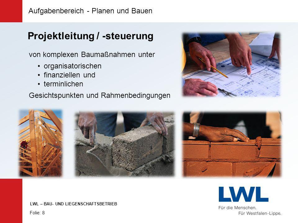 Aufgabenbereich - Planen und Bauen Folie: 8 LWL – BAU- UND LIEGENSCHAFTSBETRIEB von komplexen Baumaßnahmen unter organisatorischen finanziellen und te