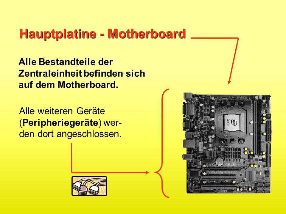 Hauptplatine - Motherboard Alle Bestandteile der Zentraleinheit befinden sich auf dem Motherboard. Alle weiteren Geräte (Peripheriegeräte) wer- den do