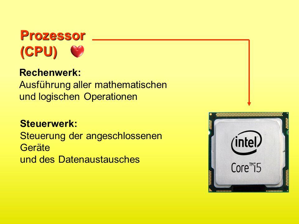 Prozessor(CPU) Rechenwerk: Ausführung aller mathematischen und logischen Operationen Steuerwerk: Steuerung der angeschlossenen Geräte und des Datenaus