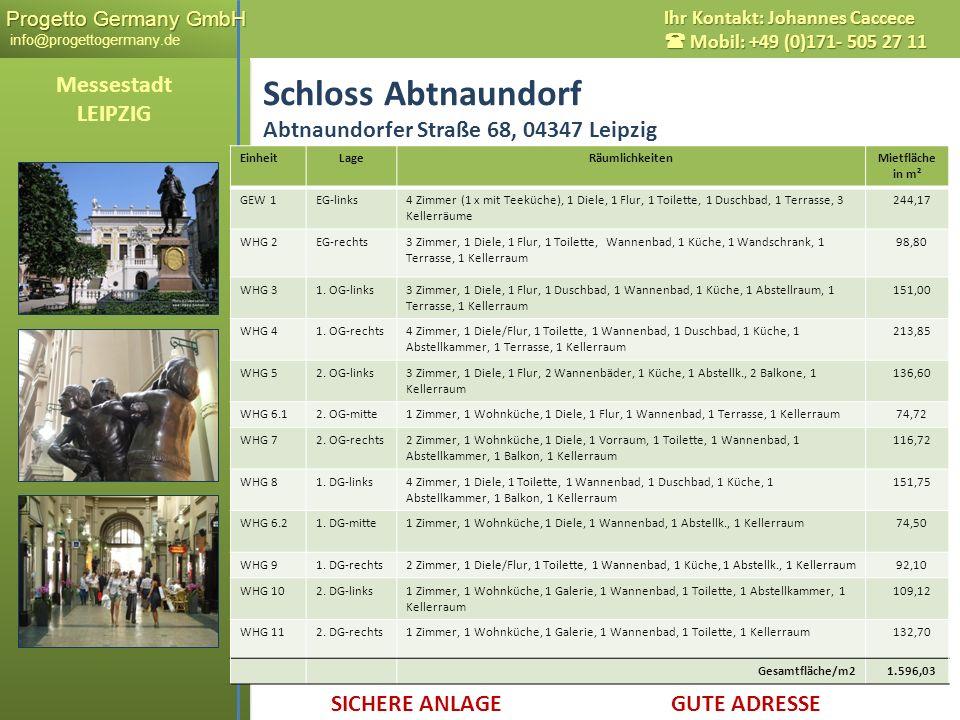 Progetto Germany GmbH Progetto Germany GmbH info@progettogermany.de Ihr Kontakt: Johannes Caccece Mobil: +49 (0)171- 505 27 11 Schloss Abtnaundorf Abt