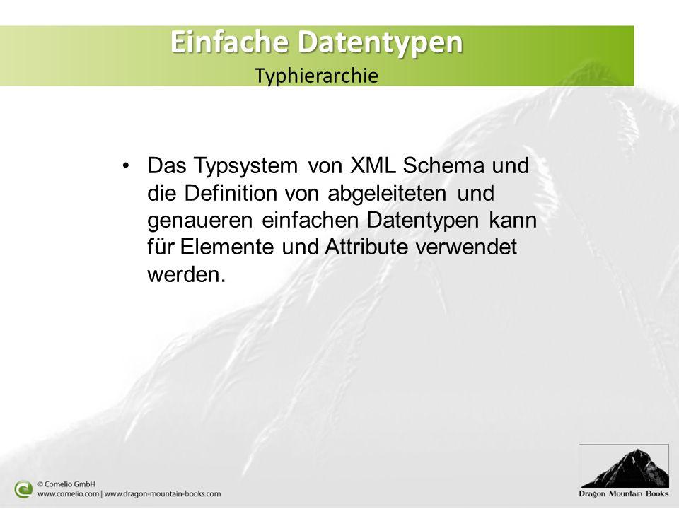 Einfache Datentypen Einfache Datentypen Typhierarchie Das Typsystem von XML Schema und die Definition von abgeleiteten und genaueren einfachen Datenty