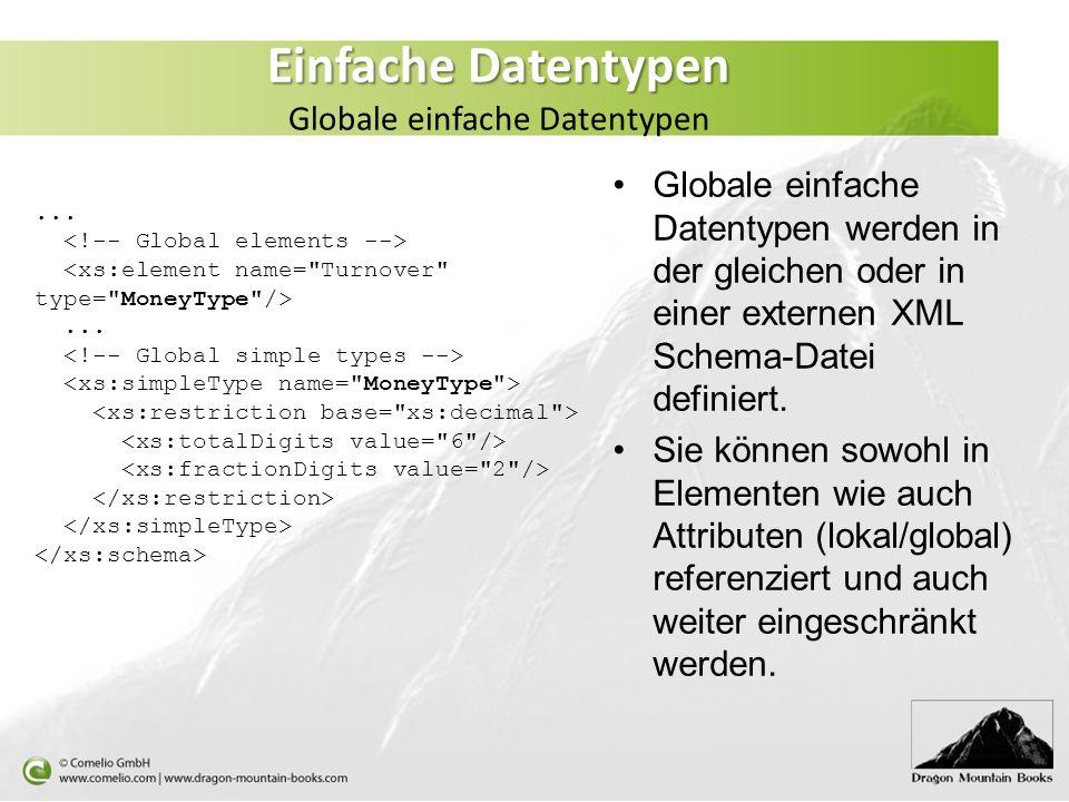 Einfache Datentypen Einfache Datentypen Globale einfache Datentypen Globale einfache Datentypen werden in der gleichen oder in einer externen XML Sche