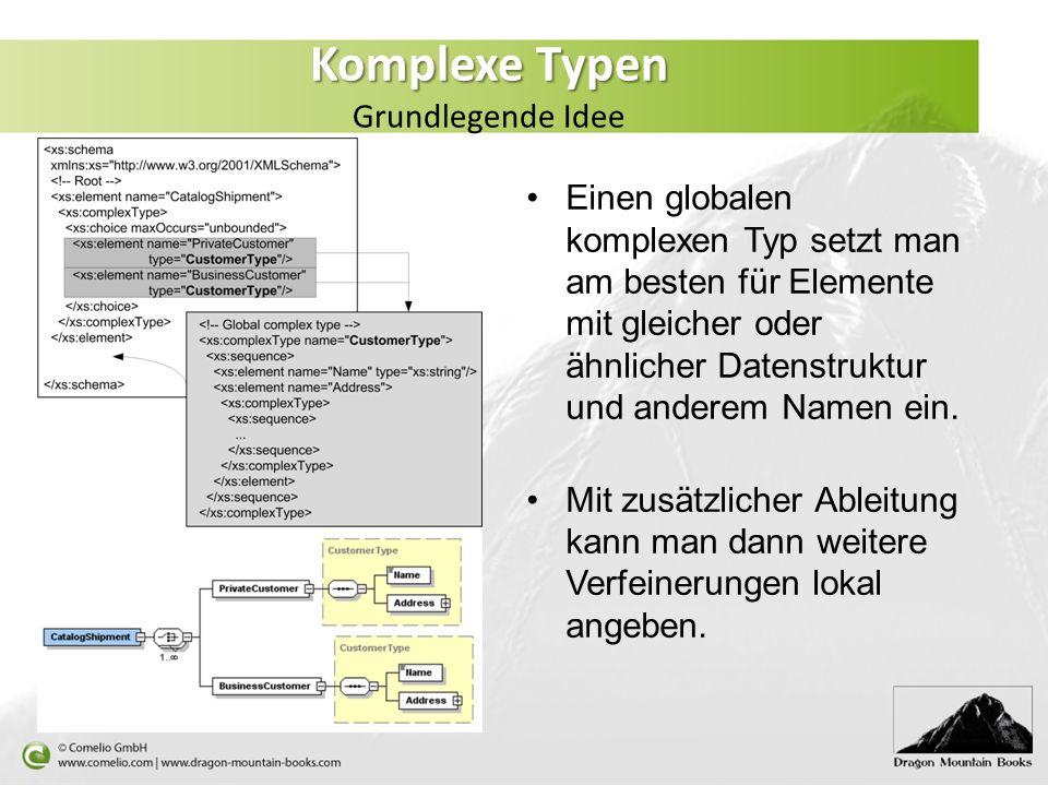 Komplexe Typen Komplexe Typen Grundlegende Idee Einen globalen komplexen Typ setzt man am besten für Elemente mit gleicher oder ähnlicher Datenstruktu
