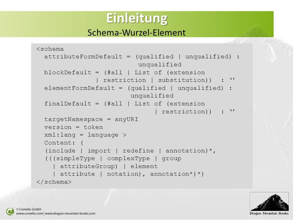 Einleitung Einleitung Schema-Wurzel-Element <schema attributeFormDefault = (qualified | unqualified) : unqualified blockDefault = (#all | List of (ext