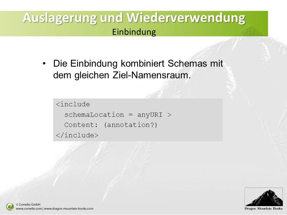 Auslagerung und Wiederverwendung Auslagerung und Wiederverwendung Einbindung <include schemaLocation = anyURI > Content: (annotation?) Die Einbindung