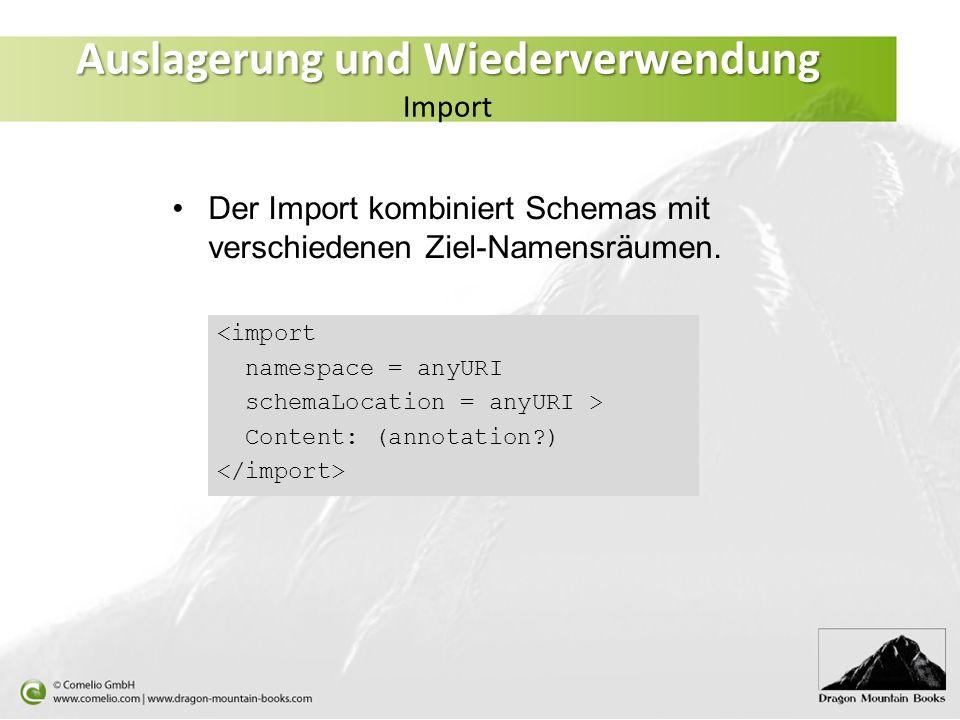 <import namespace = anyURI schemaLocation = anyURI > Content: (annotation?) Der Import kombiniert Schemas mit verschiedenen Ziel-Namensräumen. Auslage