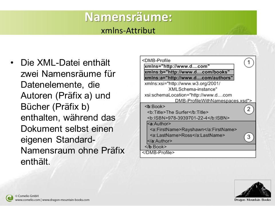 Namensräume: Namensräume: xmlns-Attribut Die XML-Datei enthält zwei Namensräume für Datenelemente, die Autoren (Präfix a) und Bücher (Präfix b) enthal