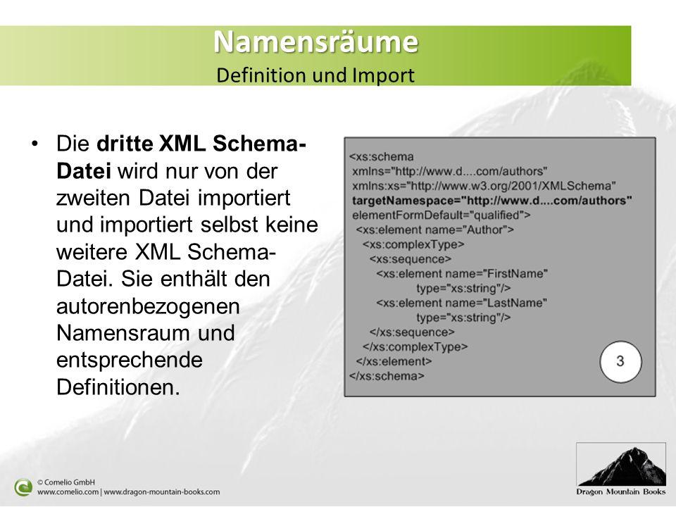 Namensräume Namensräume Definition und Import Die dritte XML Schema- Datei wird nur von der zweiten Datei importiert und importiert selbst keine weite