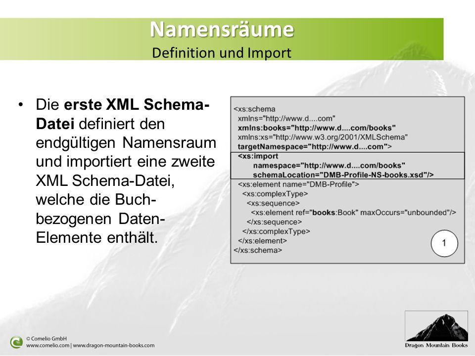 Die erste XML Schema- Datei definiert den endgültigen Namensraum und importiert eine zweite XML Schema-Datei, welche die Buch- bezogenen Daten- Elemen