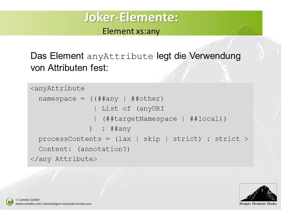 Das Element anyAttribute legt die Verwendung von Attributen fest: <anyAttribute namespace = ((##any | ##other) | List of (anyURI | (##targetNamespace