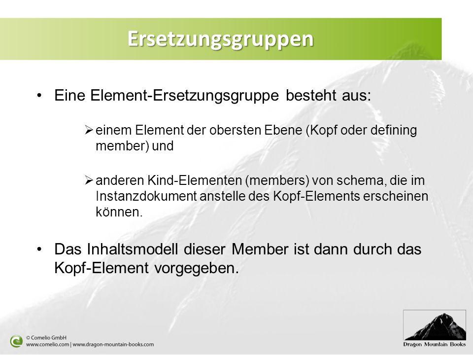 Eine Element-Ersetzungsgruppe besteht aus: einem Element der obersten Ebene (Kopf oder defining member) und anderen Kind-Elementen (members) von schem