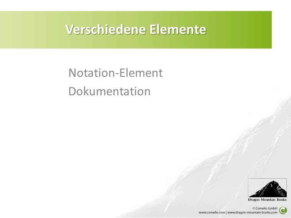 Notation-Element Dokumentation Verschiedene Elemente