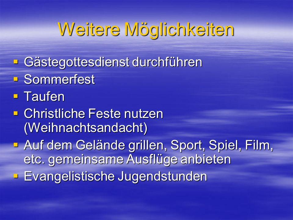 Weitere Möglichkeiten Gästegottesdienst durchführen Gästegottesdienst durchführen Sommerfest Sommerfest Taufen Taufen Christliche Feste nutzen (Weihnachtsandacht) Christliche Feste nutzen (Weihnachtsandacht) Auf dem Gelände grillen, Sport, Spiel, Film, etc.
