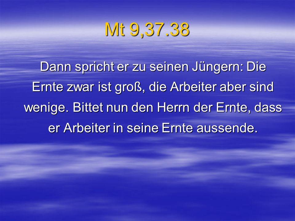 Mt 9,37.38 Dann spricht er zu seinen Jüngern: Die Ernte zwar ist groß, die Arbeiter aber sind wenige. Bittet nun den Herrn der Ernte, dass er Arbeiter