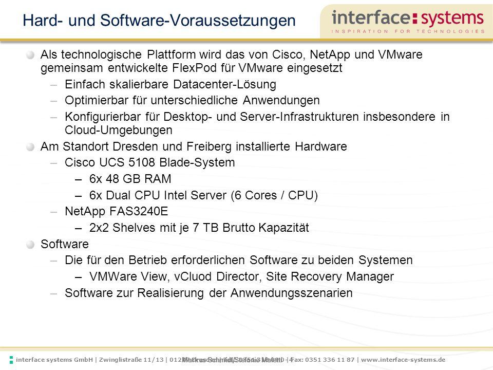 interface systems GmbH | Zwinglistraße 11/13 | 01277 Dresden | Tel.: 0351 318 09 0 | Fax: 0351 336 11 87 | www.interface-systems.de Markus Schmidt/Stefanie Maletti - 5 VMware, Cisco und NetApp im CoE 5 FlexPod Cisco ® UCS APIs Cisco ® UCS APIs Cisco Nexus ® and DCNM APIs Cisco Nexus ® and DCNM APIs NetApp OnCommand APIs NetApp OnCommand APIs FlexPod Infrastructure Management Automate Analyze Control VMware vCenter and vCloud Director APIs