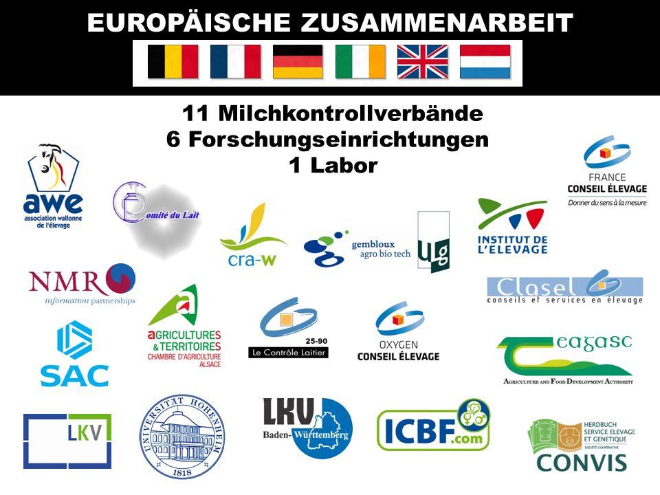 11 Milchkontrollverbände EUROPÄISCHE ZUSAMMENARBEIT 1 Labor 6 Forschungseinrichtungen