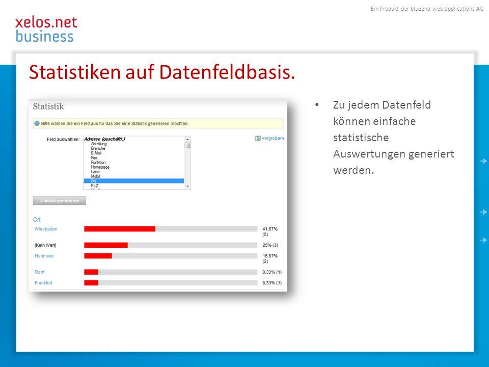Ein Produkt der blueend web:applications AG Statistiken auf Datenfeldbasis. Zu jedem Datenfeld können einfache statistische Auswertungen generiert wer
