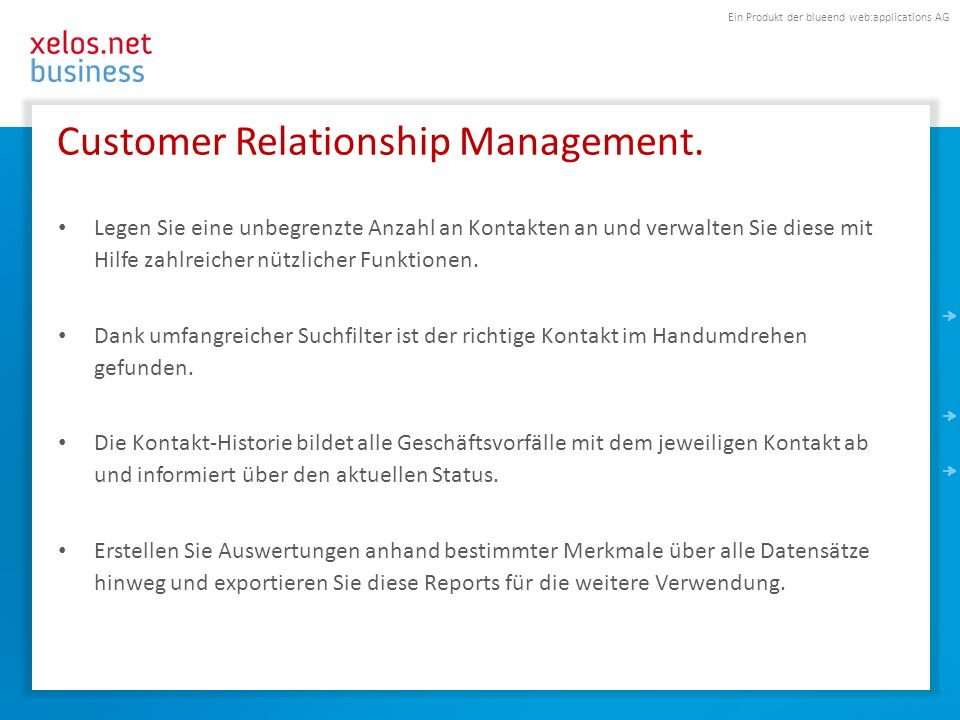 Ein Produkt der blueend web:applications AG CRM-Übersichtsseite.