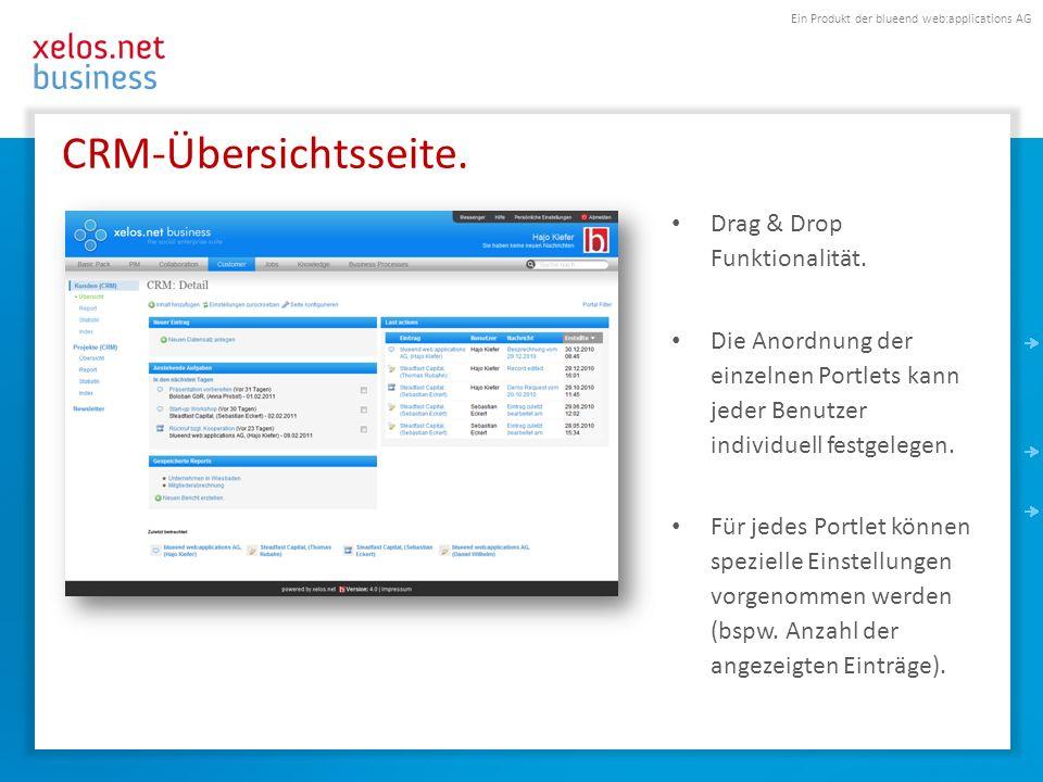 Ein Produkt der blueend web:applications AG CRM-Übersichtsseite. Drag & Drop Funktionalität. Die Anordnung der einzelnen Portlets kann jeder Benutzer