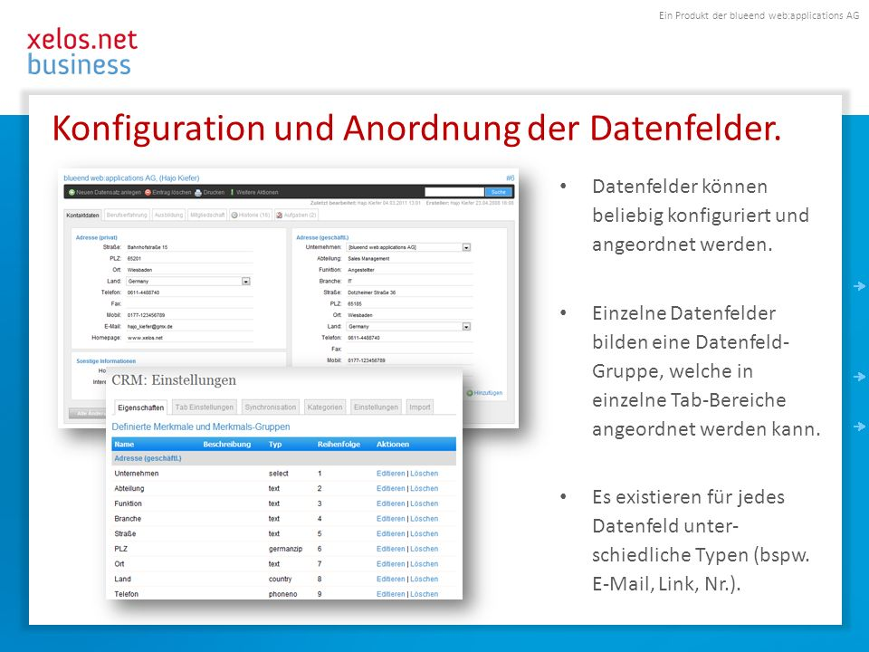 Ein Produkt der blueend web:applications AG Konfiguration und Anordnung der Datenfelder.