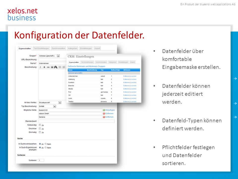 Ein Produkt der blueend web:applications AG Konfiguration der Datenfelder. Datenfelder über komfortable Eingabemaske erstellen. Datenfelder können jed