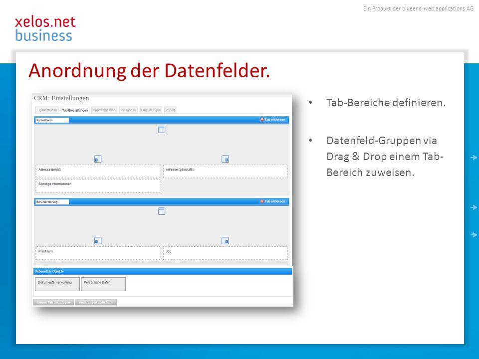 Ein Produkt der blueend web:applications AG Anordnung der Datenfelder. Tab-Bereiche definieren. Datenfeld-Gruppen via Drag & Drop einem Tab- Bereich z